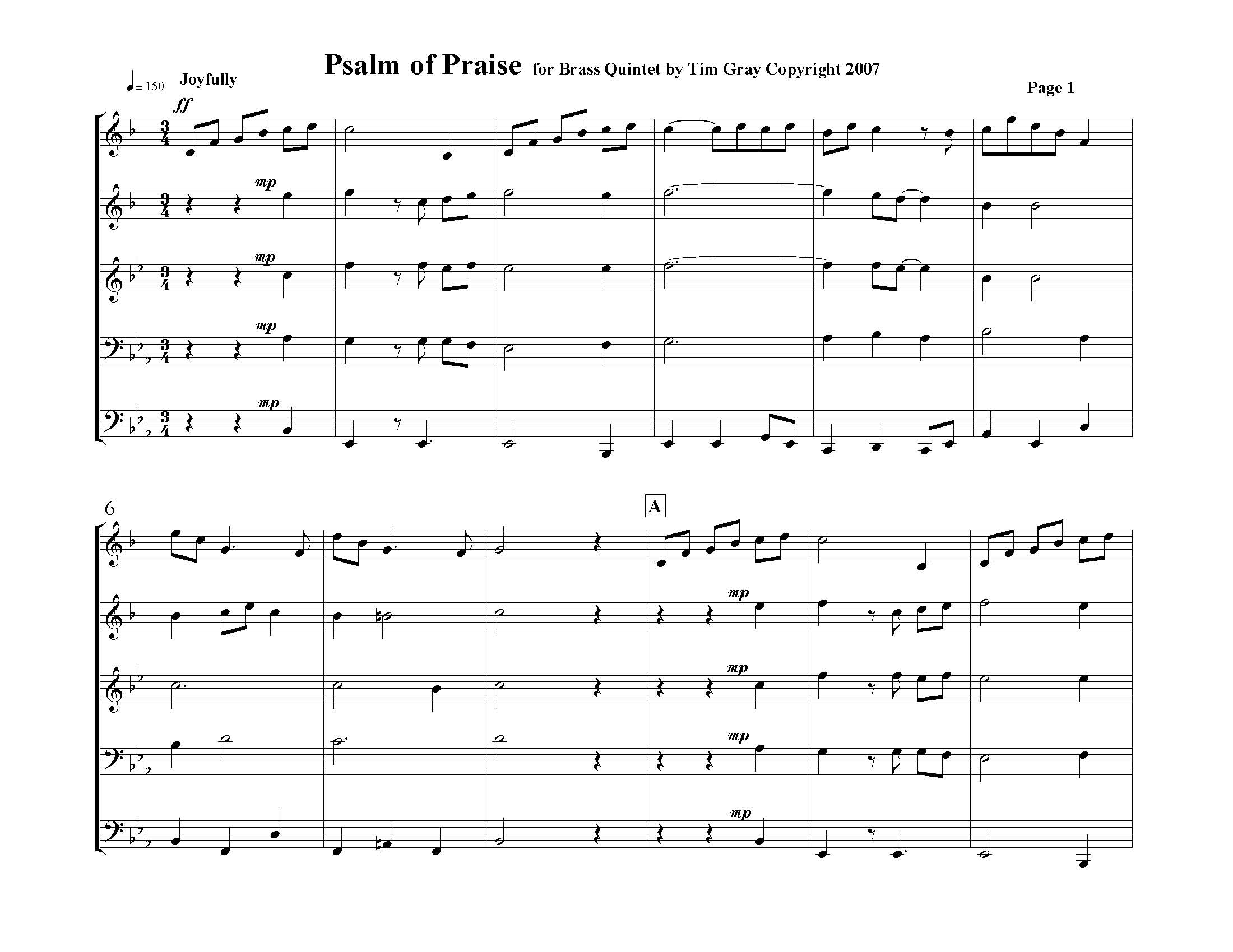 Psalm of Praise Brass Quintet sample page 1 on HonoringGodMusic.com