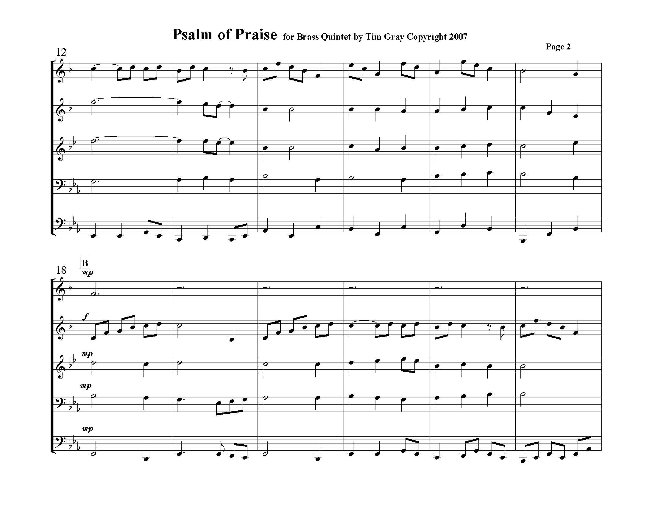 Psalm of Praise Brass Quintet sample page 2 at HonoringGodMusic.com