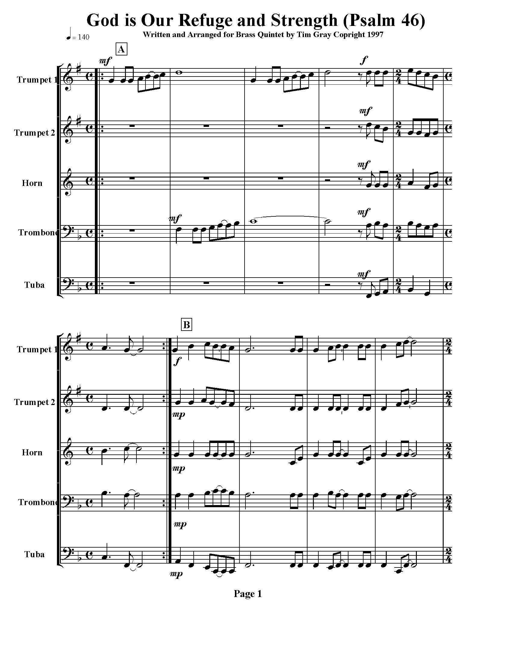 God is Our Refuge - Psalm 46 for Brass Quintet sample page at HonoringGodMusic.com