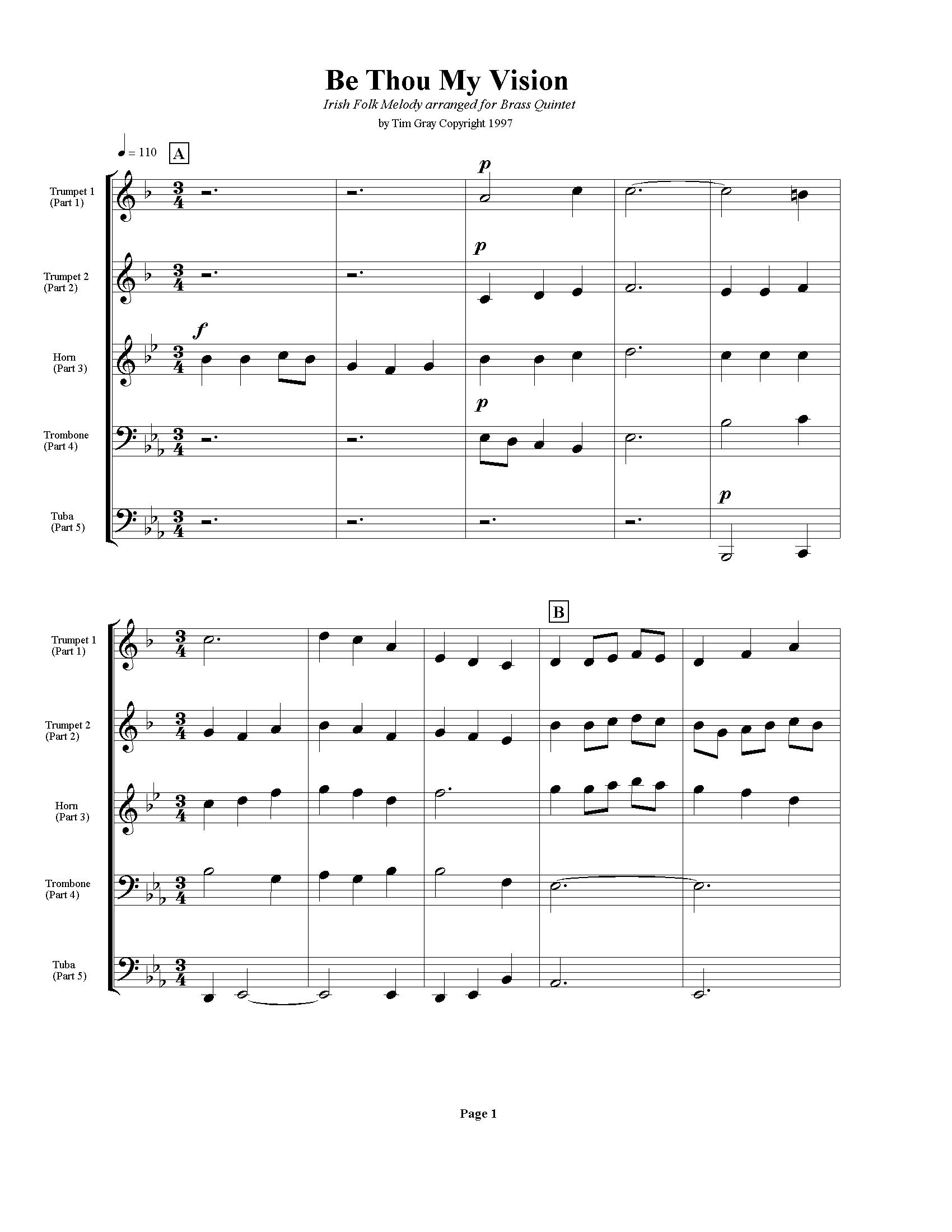 Be Thou My Vision sample page at HonoringGodMusic.com