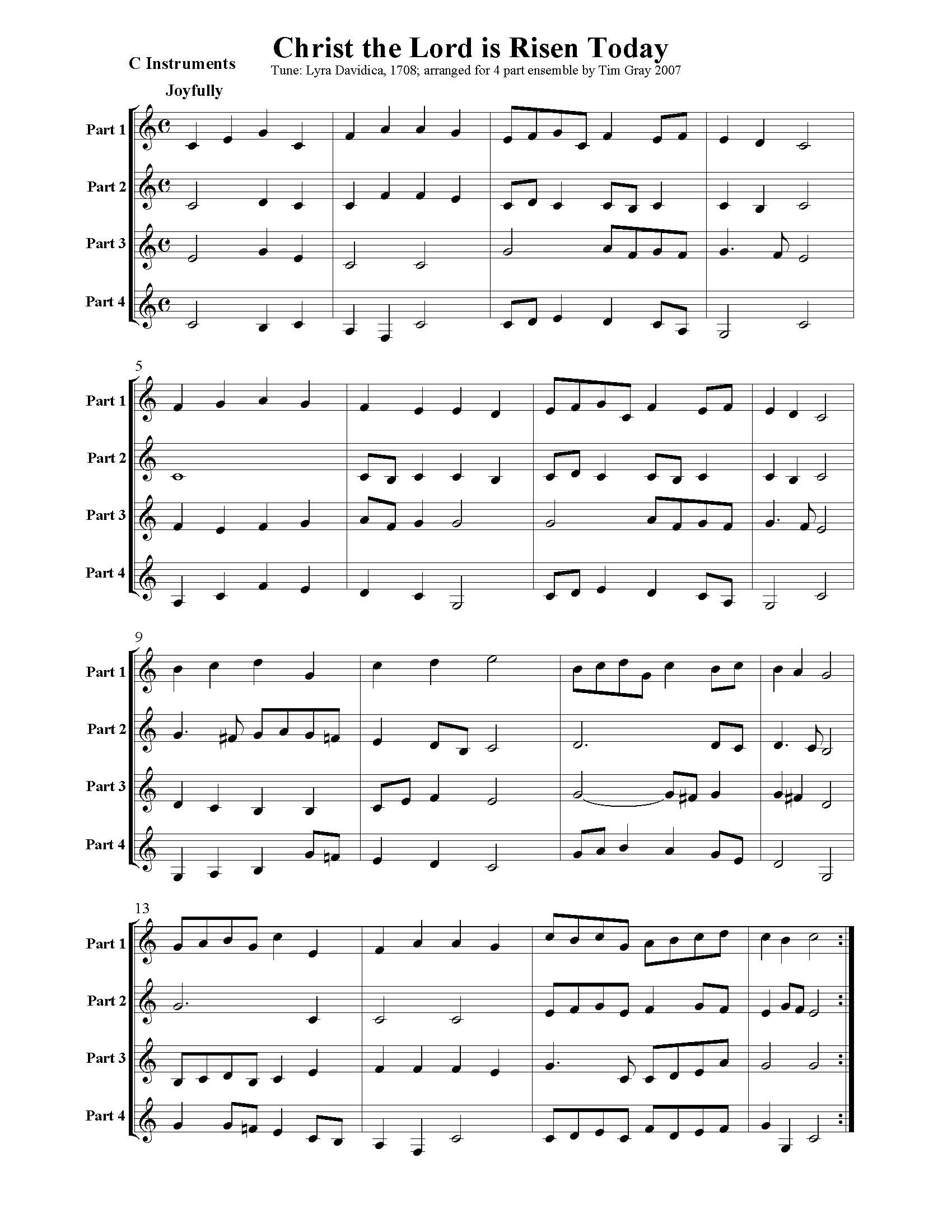 Christ the Lord is Risen Today - 4 Hymns sample page at HonoringGodMusic.com