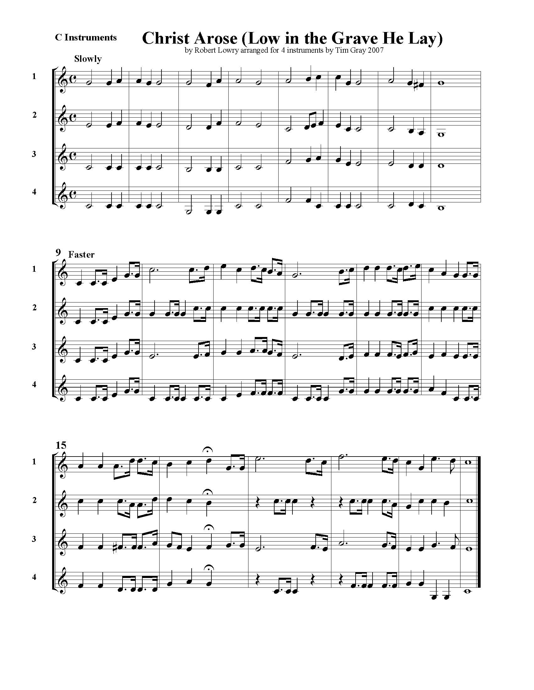 Christ Arose - 4 Hymns sample page at HonoringGodMusic.com