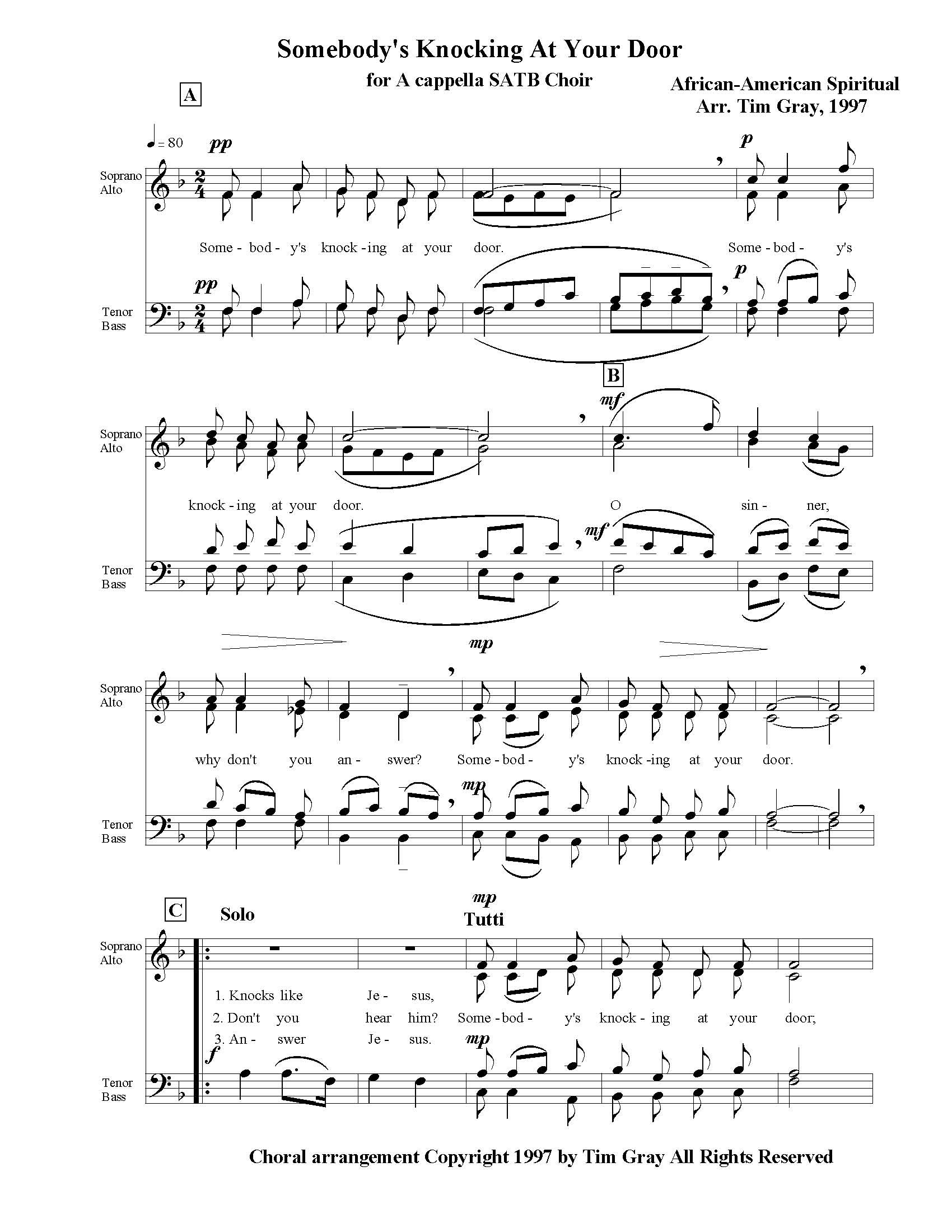 Somebody's Knocking at Your Door for SATB Choir sample page at HonoringGodMusic.com