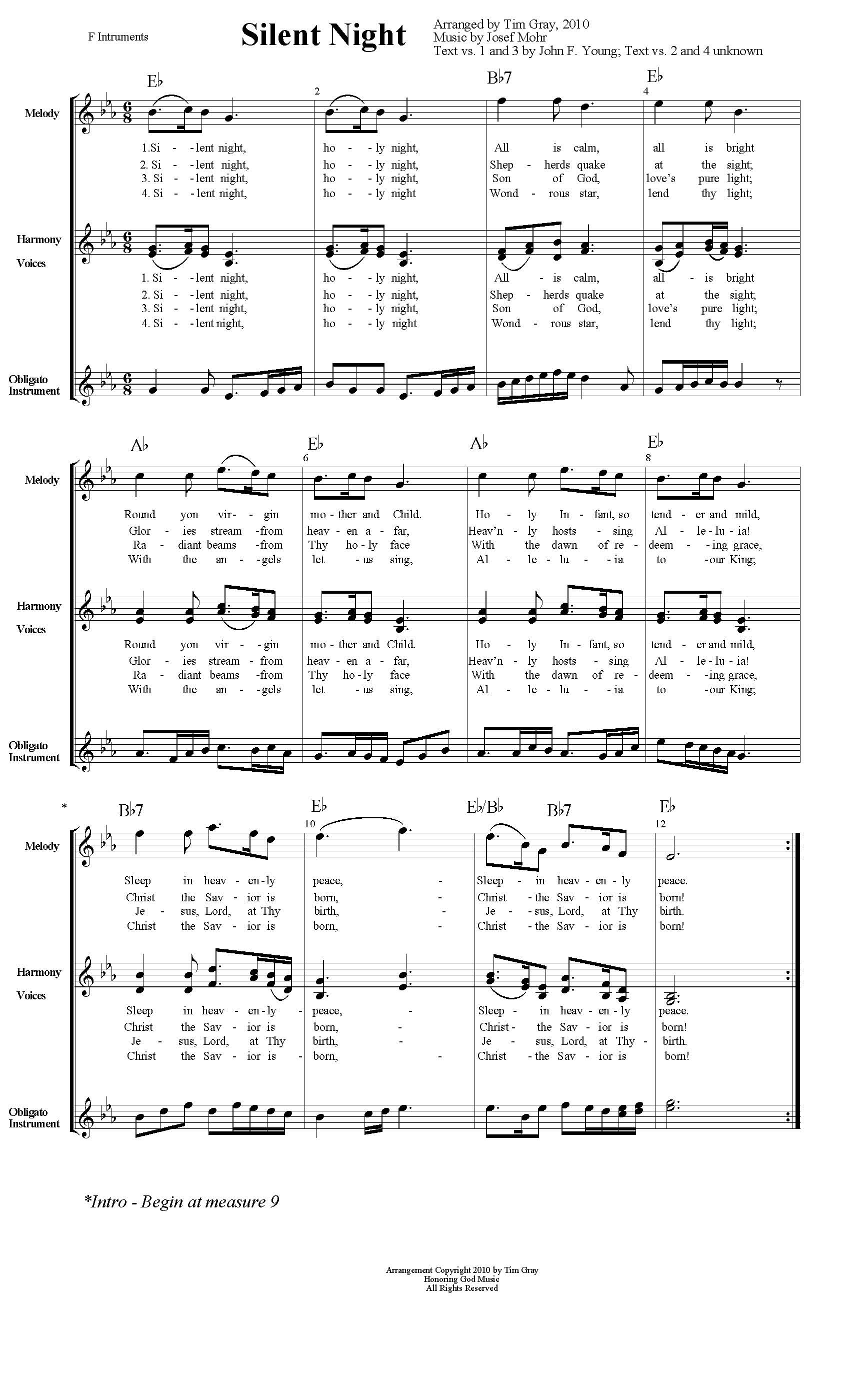 Silent Night TH4CW Traditional Hymns for Contemporary Worship sample page on HonoringGodMusic.com
