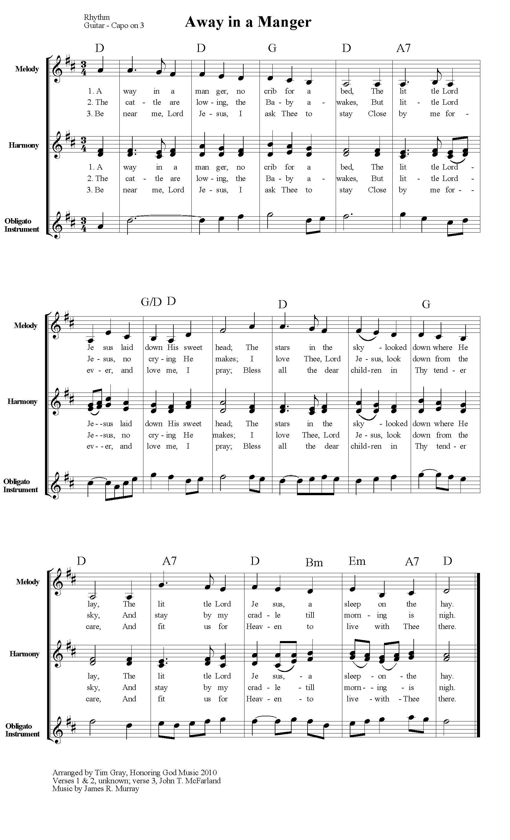 Away in a Manger TH4CW Traditional Hymns for Contemporary Worship sample page on HonoringGodMusic.com
