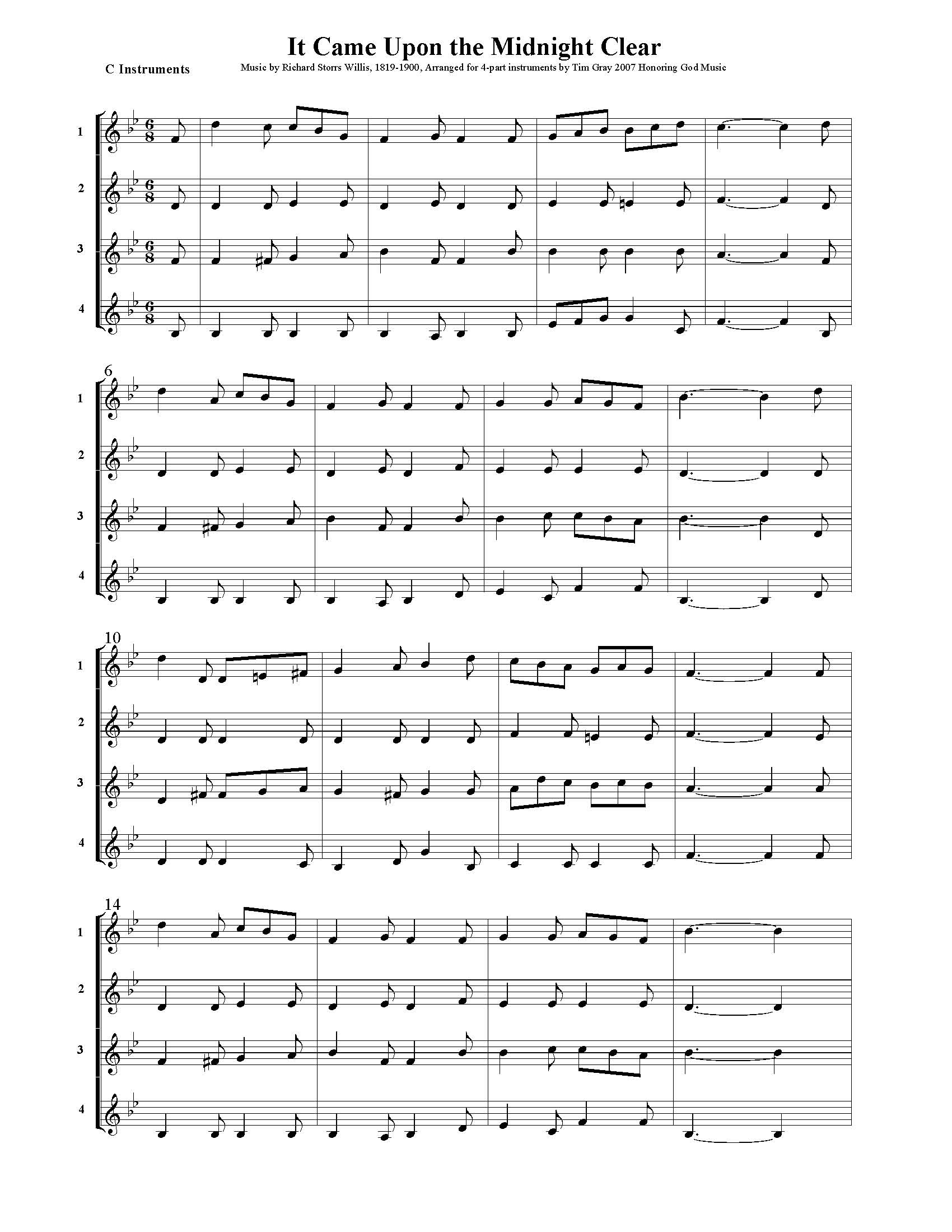 It Came Upon the Midnight Clear - 4 Hymns sample page at HonoringGodMusic.com