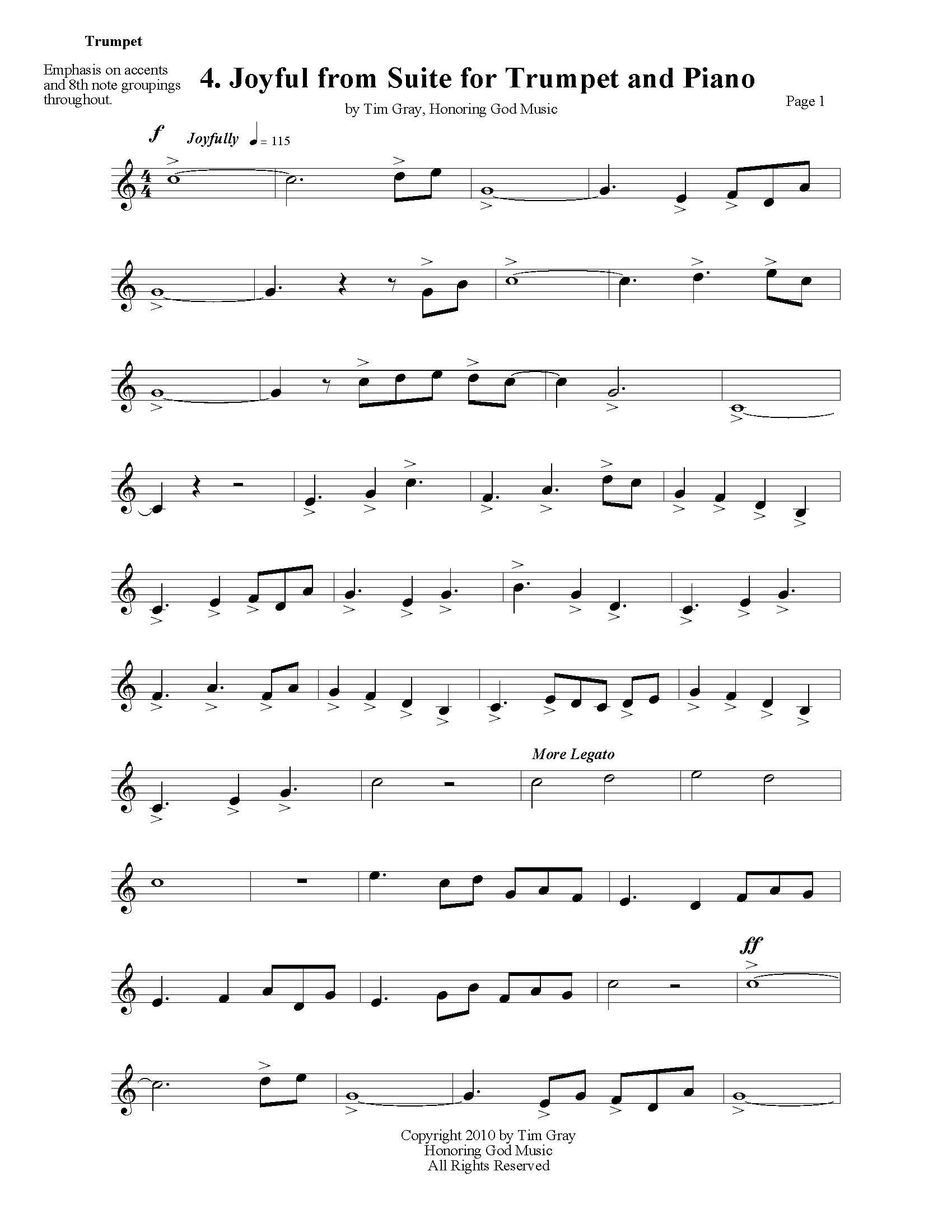 Joyful from Suite for Trumpet and Piano by Tim Gray sample page at HonoringGodMusic.com