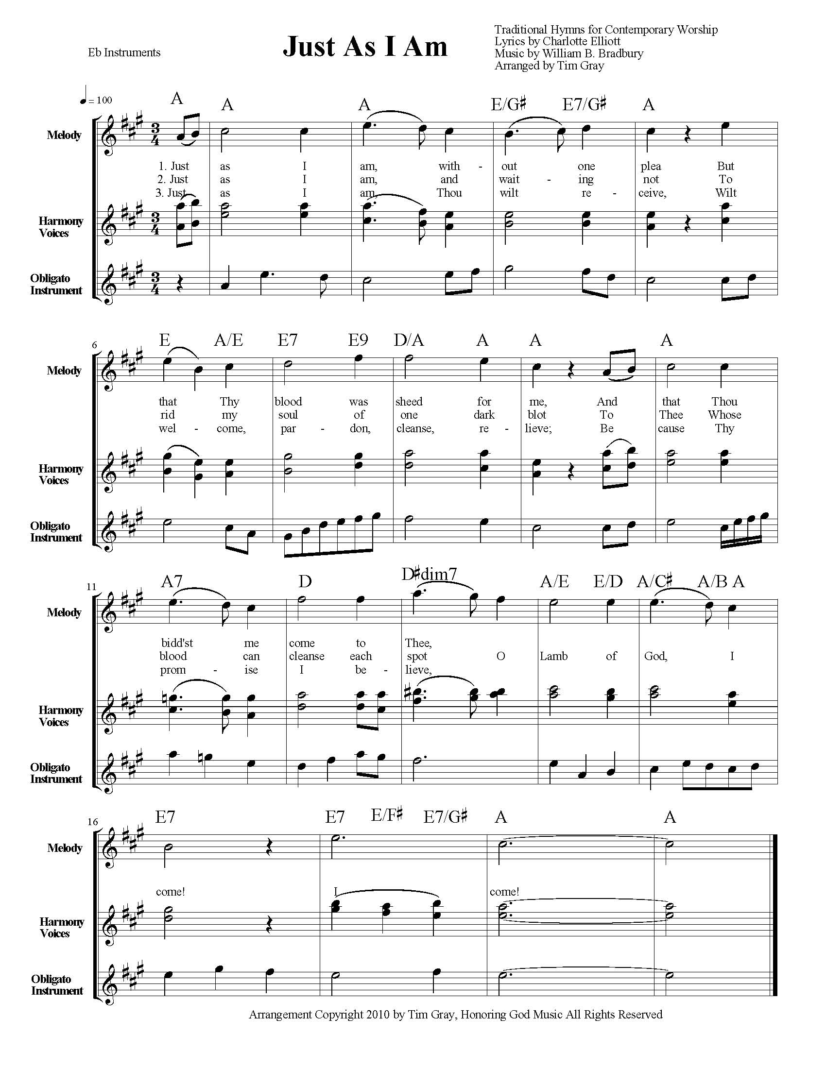 Just As I Am TH4CW Traditional Hymns for Contemporary Worship sample page on HonoringGodMusic.com