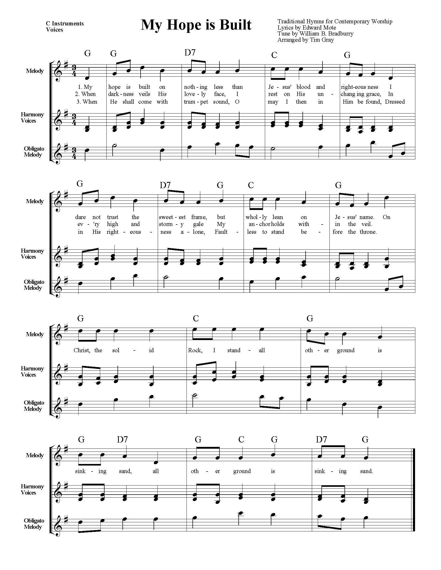 My Hope is Built TH4CW Traditional Hymns for Contemporary Worship sample page on HonoringGodMusic.com