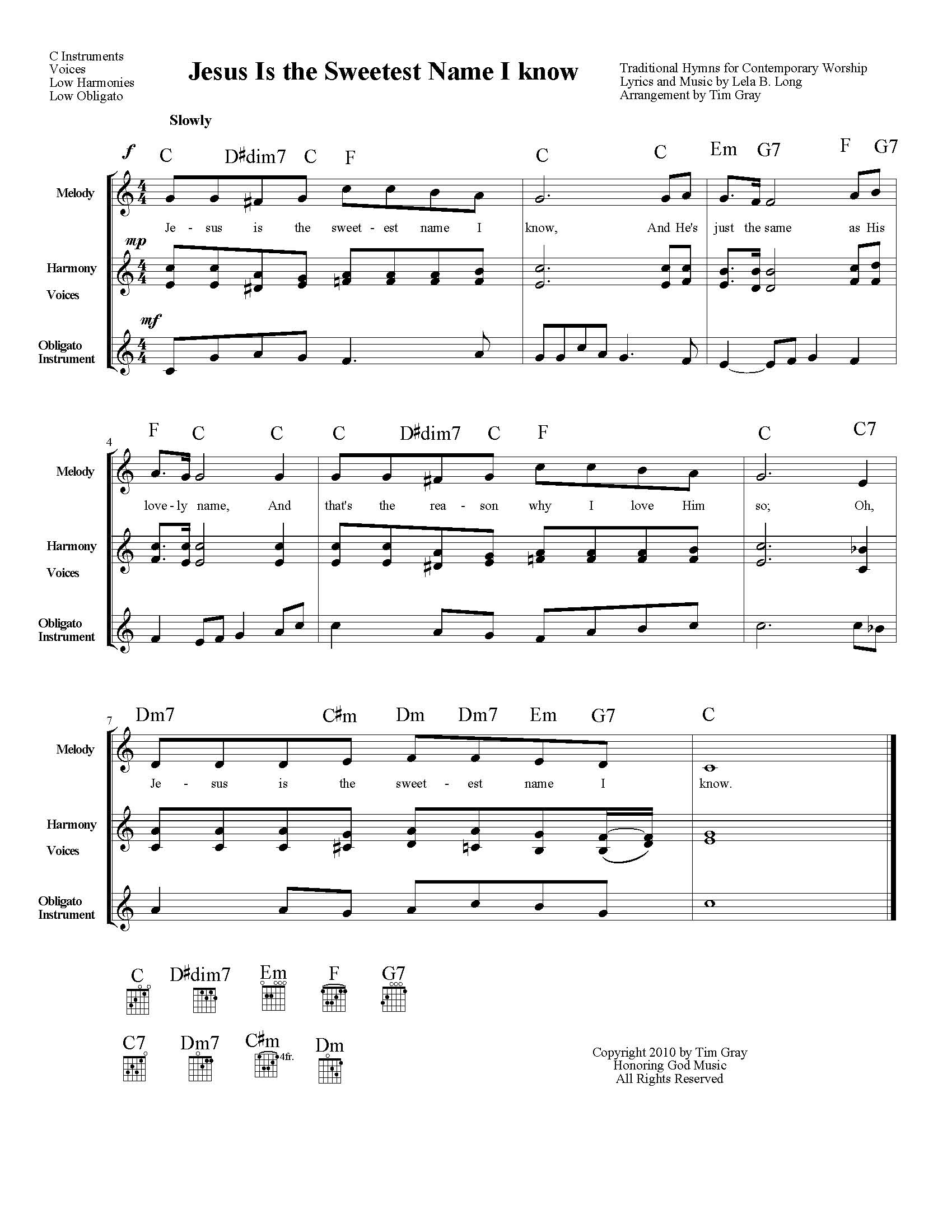 Jesus is the Sweetest Name I Know TH4CW Traditional Hymns for Contemporary Worship sample page on HonoringGodMusic.com